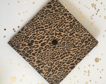 Graduation Cap | Cheetah Print | Grad Cap Decal