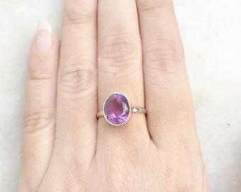 Amethyst ring, 925 Sterling silver Amethyst Facetted ring, Handmade Gemstone ring Purple Amethyst ring Natural Amethyst February Birthstone