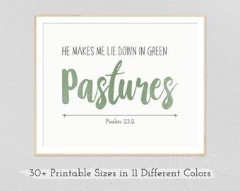 Green Pastures - Psalm 23 | Printable Instant Download, Digital Prints, Bible Verse, Printable Art, Wall Art, Wedding Gift, Anniversary Gift