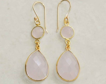 Pink chalcedony sterling silver gold plated handmade dangle earring