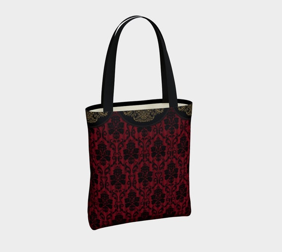 beautiful canvas tote with with Victorian black and red pattern