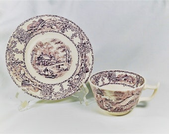 Royal Staffordshire Rural Scenes Mulberry Purple Cup/Saucer Set Clarice Cliff
