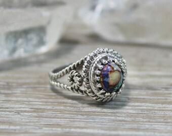 Cultured Opal Ring, Sterling Opal, Monarch Opal, Sterling Silver, Opal, Opal Ring, Rough Opal