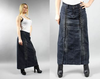 Vintage Black Maxi Denim Skirt . 90s Grunge Tie Up Jean Skirt . Long Denim Skirt . Goth Skirt . Office Casual A-line Mod Denim Maxi Skirt L
