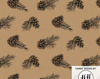 Pine Cone Fabric By The Yard - Winter Pine Cones and Needles Woodland Cabin Print in Yards & Fat Quarter