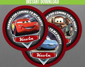 Disney Cars Birthday Favor Tags - Instant Download and Edit with Adobe Reader
