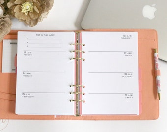 A5 Ring Size : Week On Two Pages + Top 3 [WO2P] | PRINTED Planner Inserts | DreamPlanRepeat