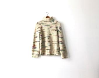 Rainbow Detailed Turtleneck Sweater - Womens Medium / Turtleneck Sweater / Soft Sweater / Acrylic Sweater / Rainbow Sweater / Mohair Sweater