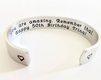 50th birthday gift. Fifty and Fabulous! Personalized BraceletSister Bracelet / Personalized Gifts for Christmas, Weddings, Birthday- by Th