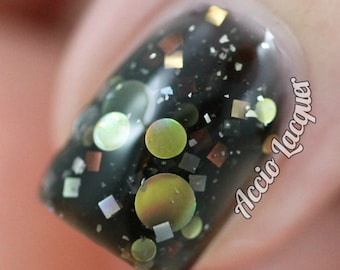 Motor City - 15 ml - black jelly polish with metallic dots and squares - indie polish by ALIQUID Lacquer