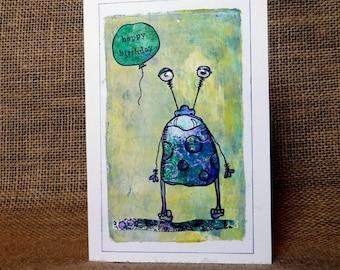 handmade card, birthday card, card for him, boy's card, funny card, monster card