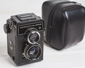 Vintage camera Lubitel 166B Collectible Soviet Russian camera Lomography Retro Camera 35mm Photo Original leather case Gift for photographer