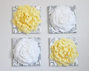 Large Master Bedroom Wall Art Decor Yellow Flower On Gray and White Damask Wall Art Set of Four Wall BedRoom Decor