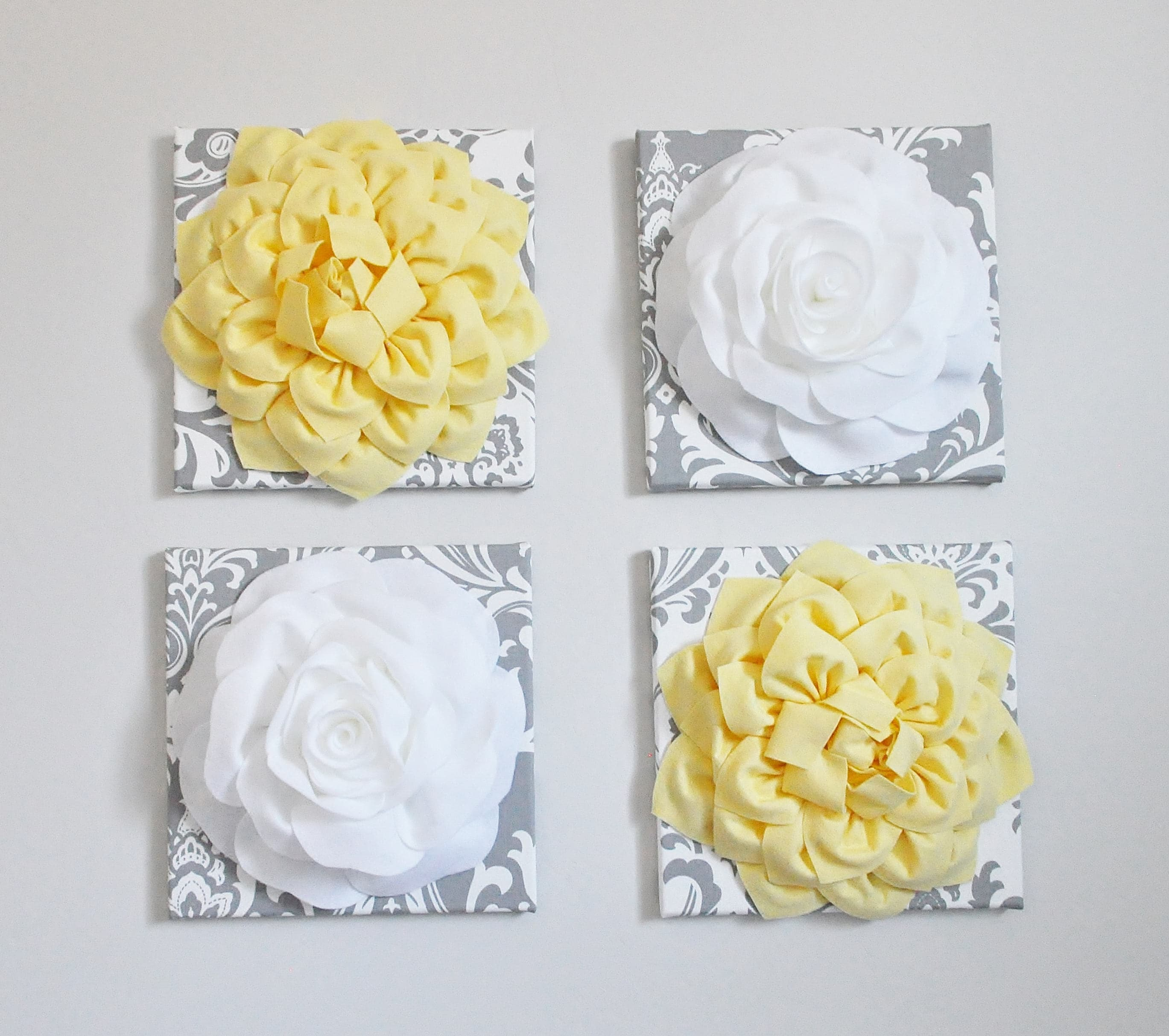 Large Master Bedroom Wall Art Decor Yellow Flower On Gray and