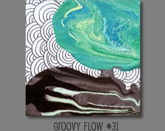 Groovy flux acrylique abstrait peinture #31 prêt à accrocher 4 x 4
