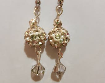 Silver drop earrings with clear swarovski crystal and clear gemstone bead