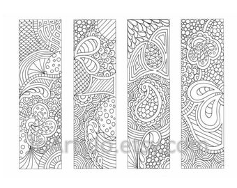 PDF Coloring Page Bookmarks Zendoodle / Zentangle Inspired Printable Coloring, Instant Download, Sheet 18