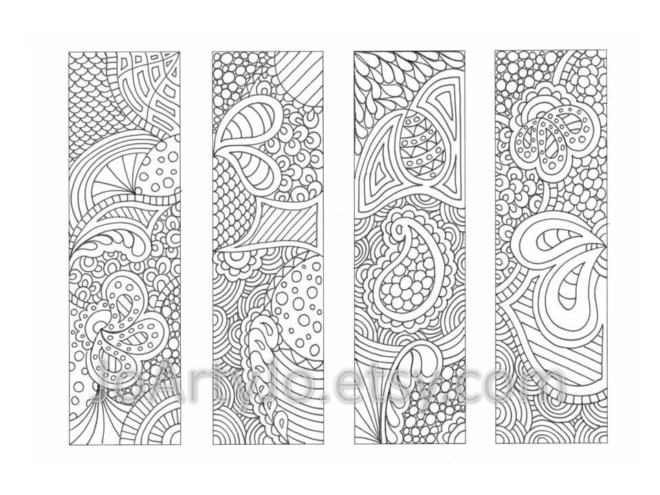 Printable Bookmarks Coloring Page Zendoodle / Zentangle