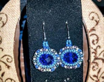 Brick-stitch birthstone earrings
