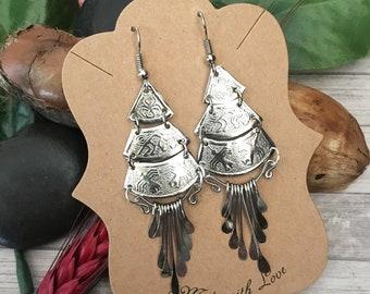 Silver earrings Earrings handmade Peruvian Cultural silver earrings Nazca lines earrings Handmade Jewelry Nazca lines earrings