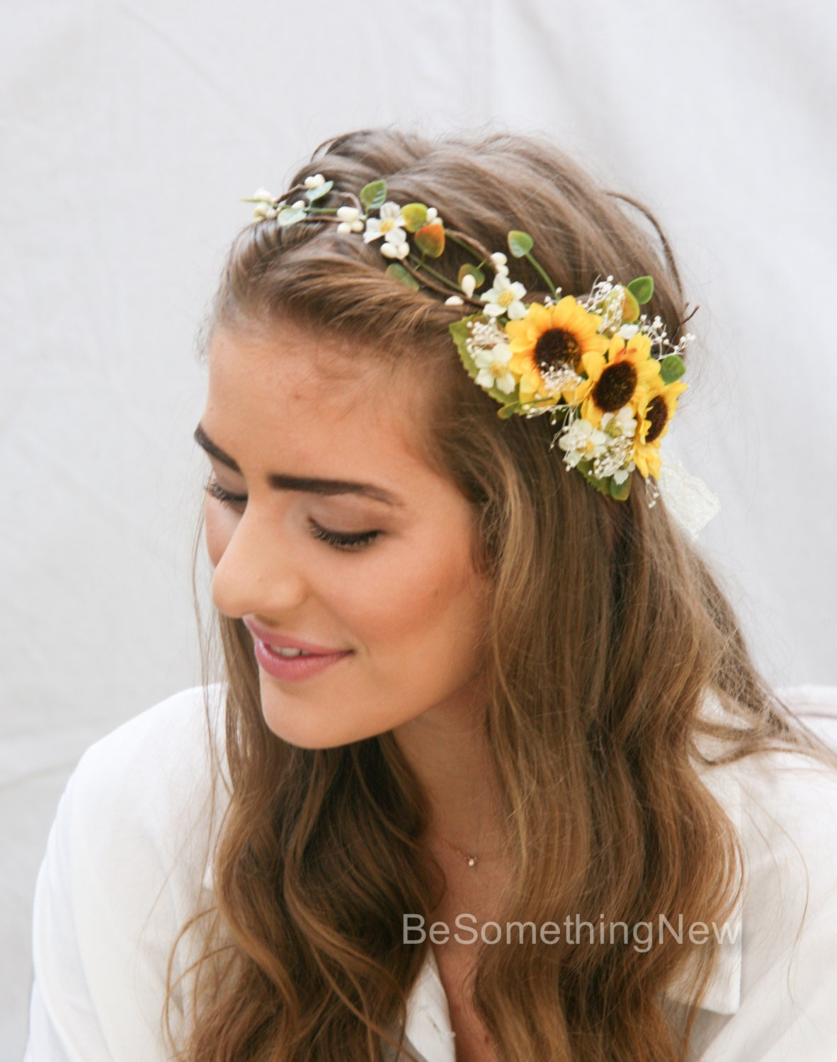 Sunflower flower crown with green leaves and babies breath zoom mightylinksfo