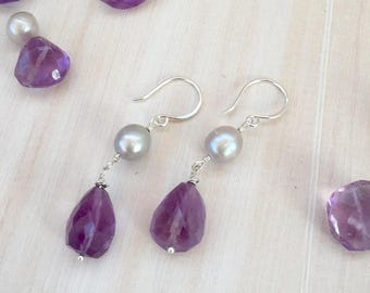 Faceted Purple Amethyst and Silver/ Gray Freshwater Pearl Dangle Earrings