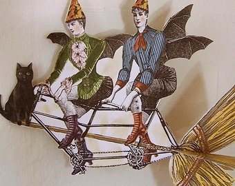 Steampunk Halloween Bat Lady, Moon Paper Doll Hanging Decoration - Digital INSTANT Download Victorian Black Cat Spiders Broom Bicycle HP18H