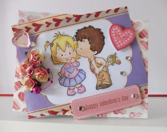 Valentine day card - Blank double greeting card - Hand colored -  Main card color is purple