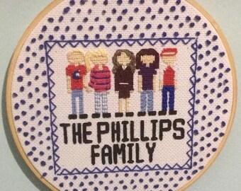 Custom Family Portrait Cross Stitch