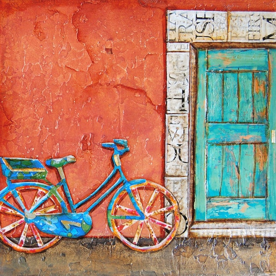 Bicycle ART PRINT or CANVAS doorway Italy bike cycling biking collage painting wall home decor vintage retro gift for her, All Sizes