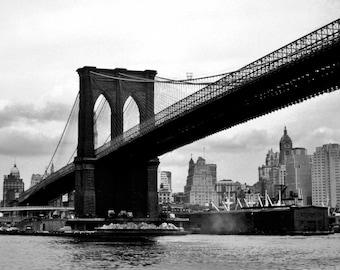 Vintage 1950's Brooklyn Bridge, Manhattan Island, New York City - Black & White Photo Print (Converted From 35mm Slide)