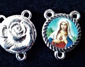 1 Center Rosary Virgin Mary 17 x 13 mm, Rose silver back heart