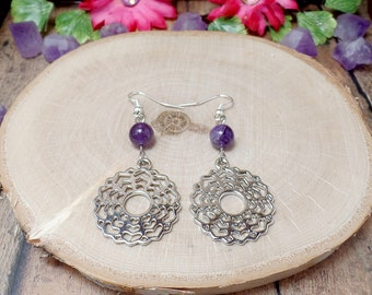 Crown Chakra Earrings - Purple - Amethyst Earrings - Gemstone Earrings