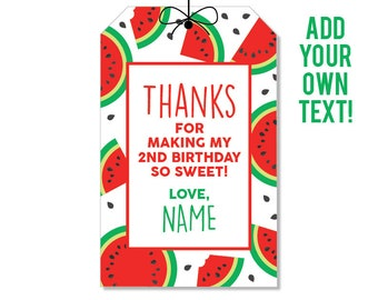EDITABLE INSTANT DOWNLOAD Red Watermelon Party Favor Tags - Editable, printable watermelon birthday party favor tags
