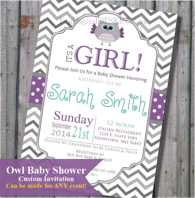 Owl baby shower invitation in purple and teal its a girl zoom filmwisefo Images
