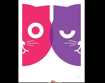 Dueling Watson the Cat Print | Large Wall Art | Girls Animal Nursery Decor | Cat Poster | Pop Art | Cat Lover Gift | Gift Minimalist
