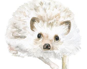 Hedgehog Watercolor Painting 5x7 Giclee Print Reproduction - Woodland Animal - Nursery Art