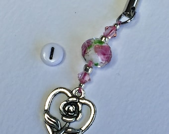 Mobile phone charm - Hearts and Roses