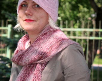 Light pink scarf and hat,  infinity scarf,  knit scarf,  knit  circle scarf