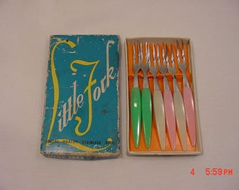 6 Vintage Stainless Steel Little Hors d'oeuvre Forks In Original Box  18 - 25
