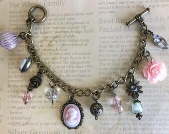 Vintage Inspired Antique Industrial Cameo Beads Flower Charm Bracelet