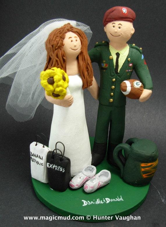 Paratrooper Groom In Uniform Wedding Cake Topper Paratrooper