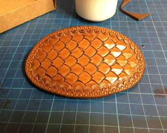 Hand tooled dragon scale hair barrette