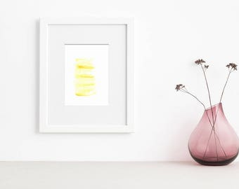 Yellow Abstract Watercolor Print
