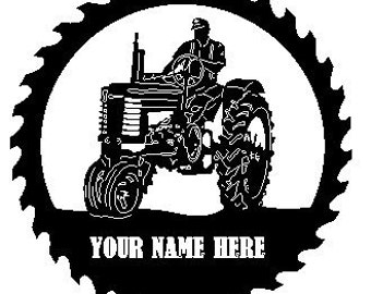 John Deere Tractor Sawblade with Man Personalized with YOUR NAME