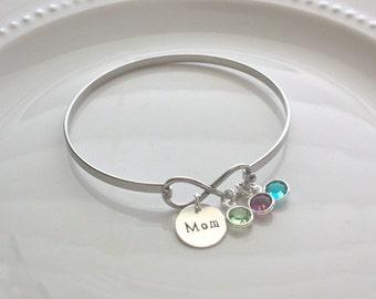 Mom Infinity Bracelet, Mom Bracelet, Birthstone Bangle Bracelet, Mother's Day Gift, Personalized Mom Jewelry, Gift for Mom
