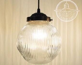 LARGE PENDANT Light Clear Holophane Globe - Chandelier Flush Mount Lighting Fixture Ceiling Glass Kitchen Island Bathroom Restaurant Lamp
