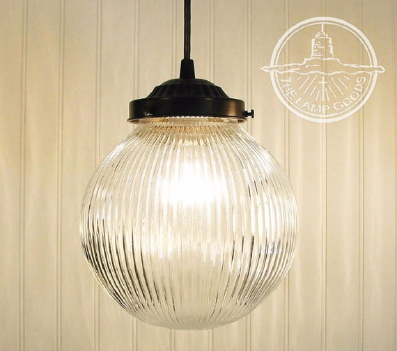Large pendant light clear holophane globe chandelier flush like this item mozeypictures Gallery