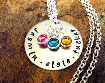 Grandma Gift, Gift for Mom, Mother's Day Jewelry, Personalized Jewelry, Name Necklace, Hand Stamped Jewelry, Jewelry for Mom