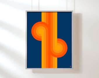 Mid Century Art Mid Century Modern Giclee Print Pop Art Abstract Art, Op Art, 70s Retro Art, Orange and Blue Wall Art, Orange Stripes
